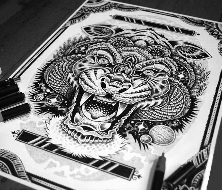 Cosmic Tiger pen drawing by Sneaky Studios