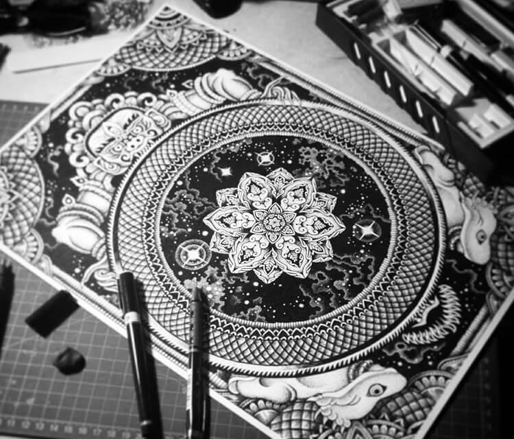 Cosmic Yama pen drawing by Sneaky Studios