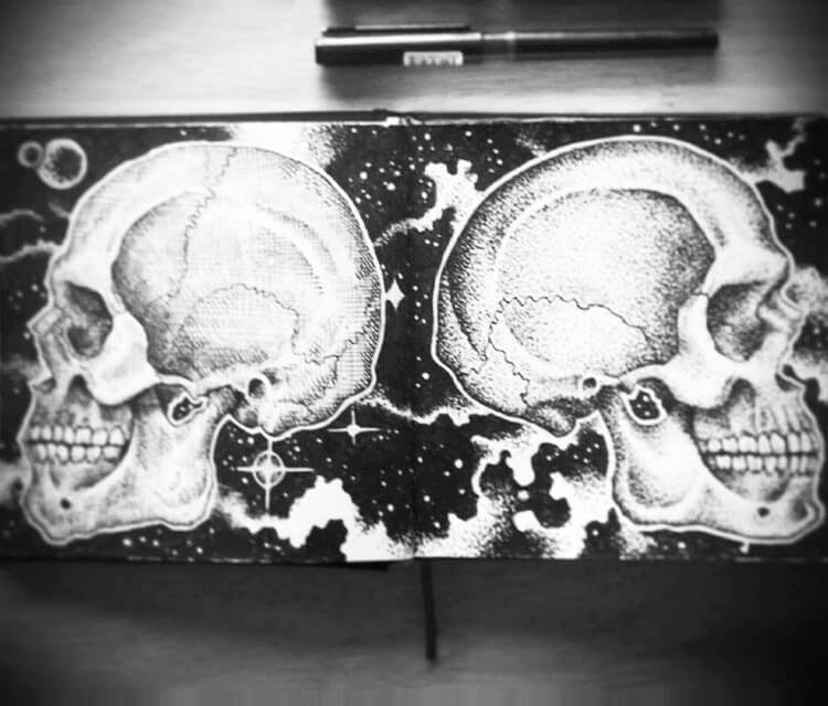 Crosshatch vs Dotwork Skull by Sneaky Studios
