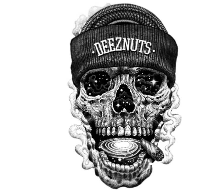 Deeznuts Space skull drawing by Sneaky Studios