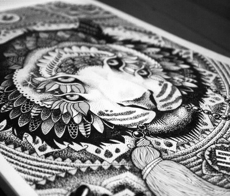 Detail 2 Cosmic tiger marker drawing by Sneaky Studios