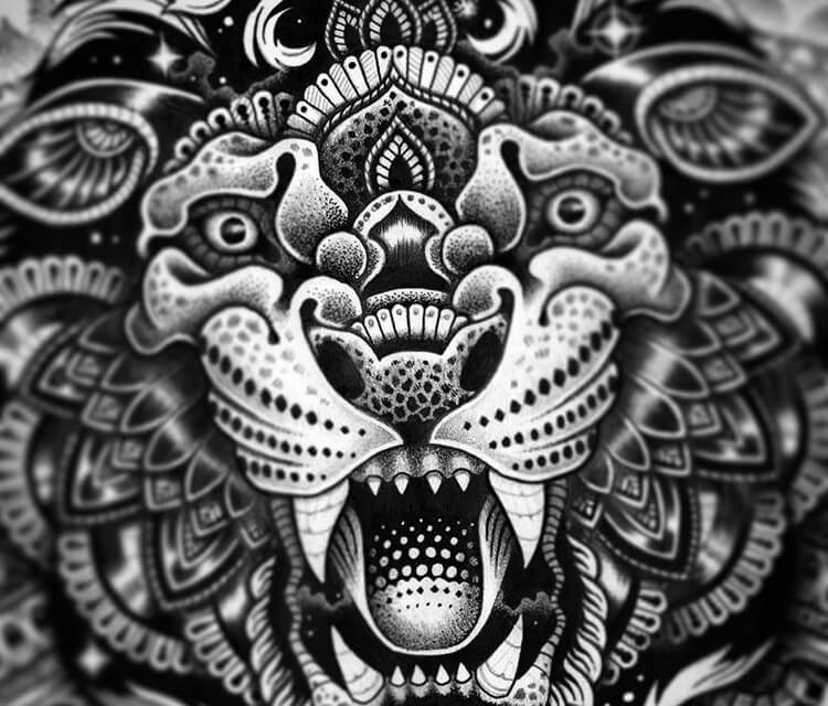 Detail cosmic lion marker drawing by Sneaky Studios