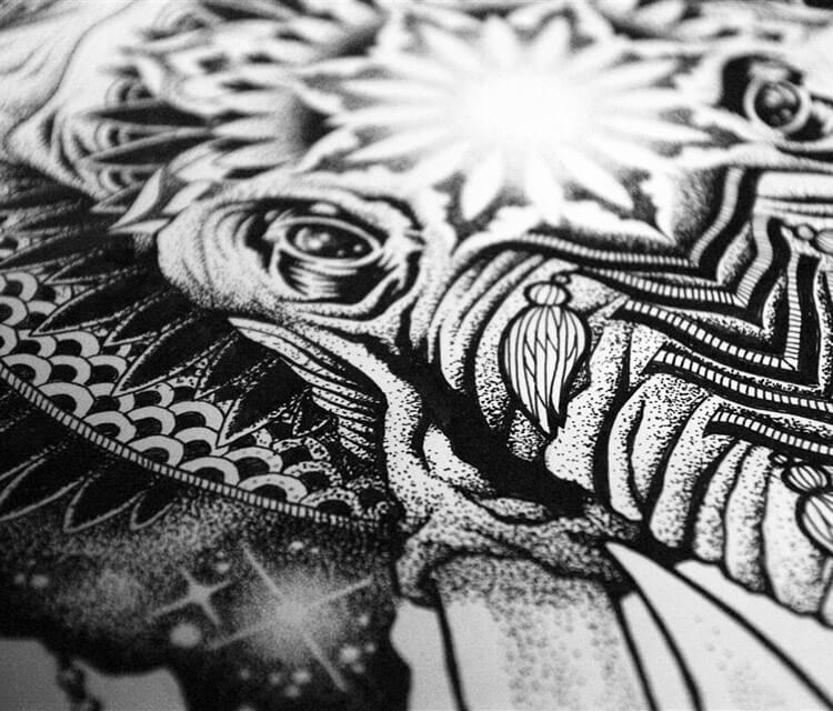 Detail Elephant mystic genesh marker drawing by Sneaky Studios