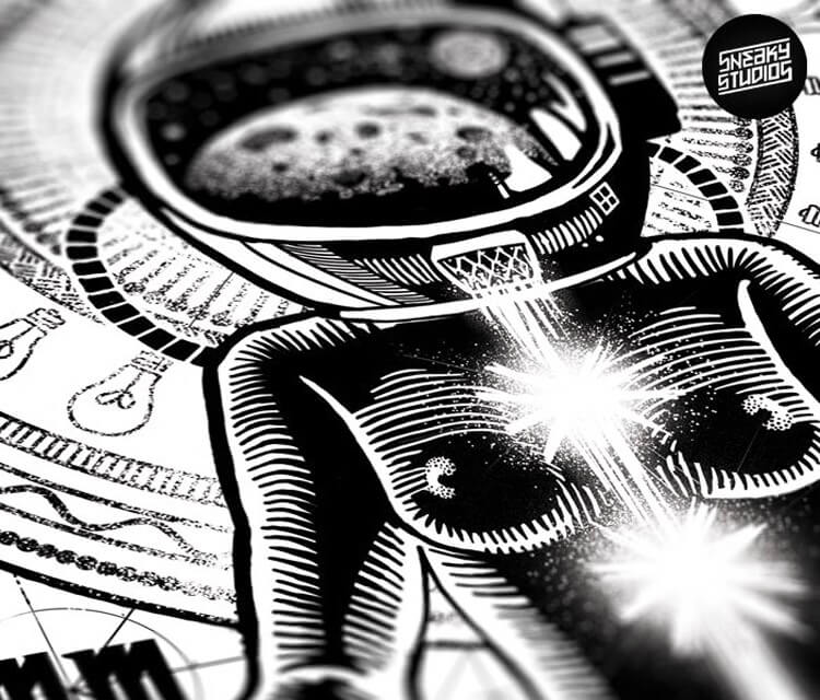 Detail Space woman pen drawing by Sneaky Studios
