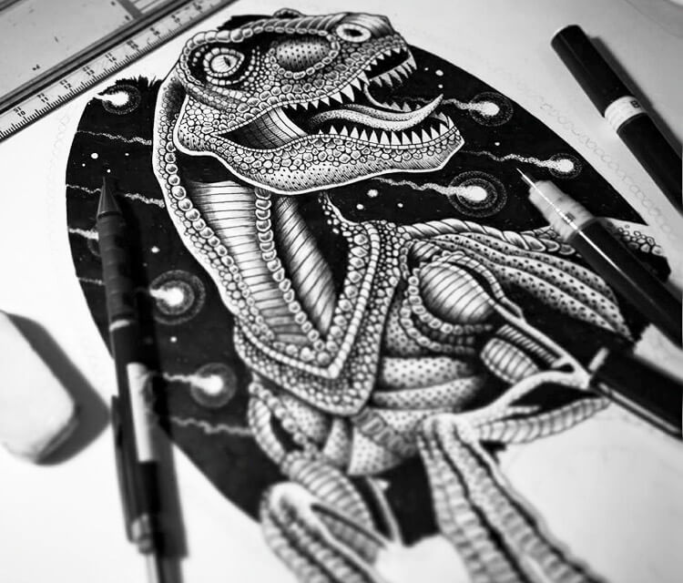 Dino Fun pen drawing by Sneaky Studios