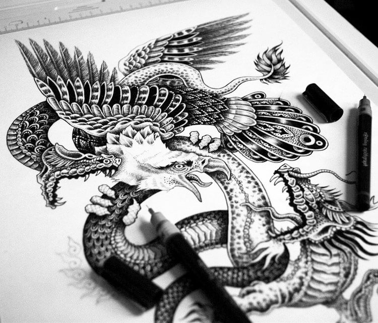 Eagle Snake Dragon drawing by Sneaky Studios