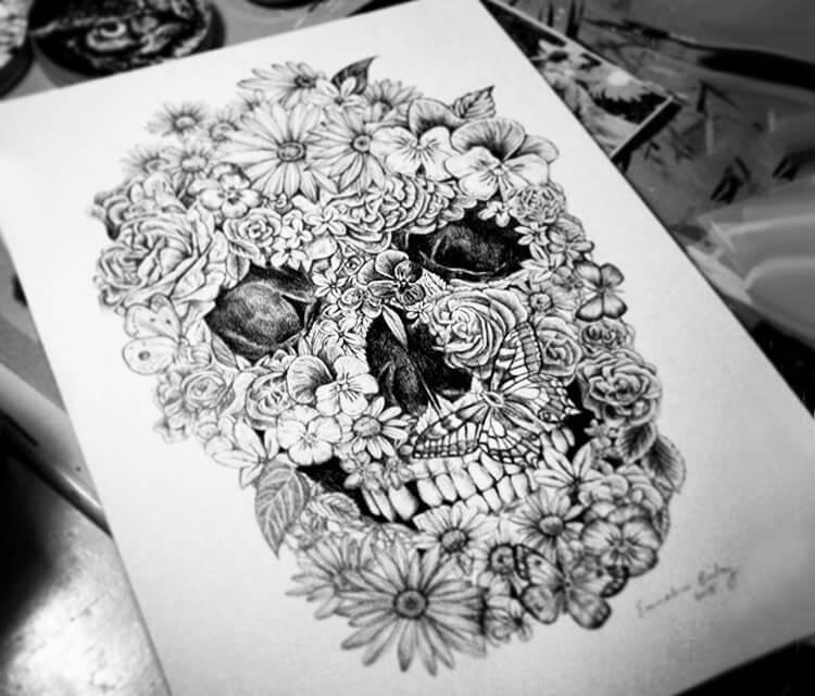 Floral skull drawing by Sneaky Studios