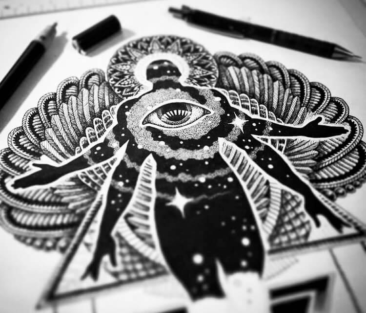 Icarus pen drawing by Sneaky Studios