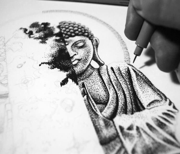 In Work Budha drawing by Sneaky Studios