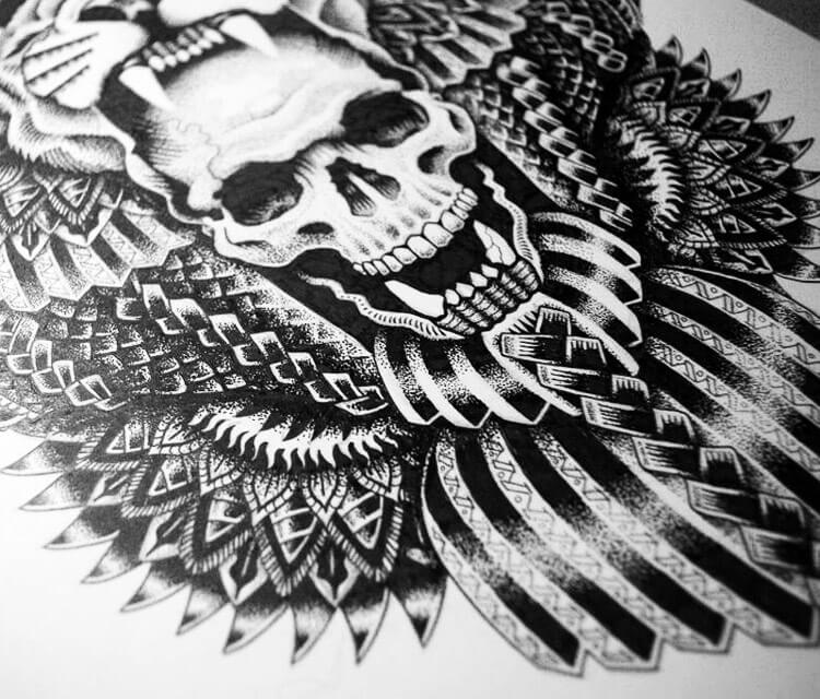 Indian skull marker drawing by Sneaky Studios