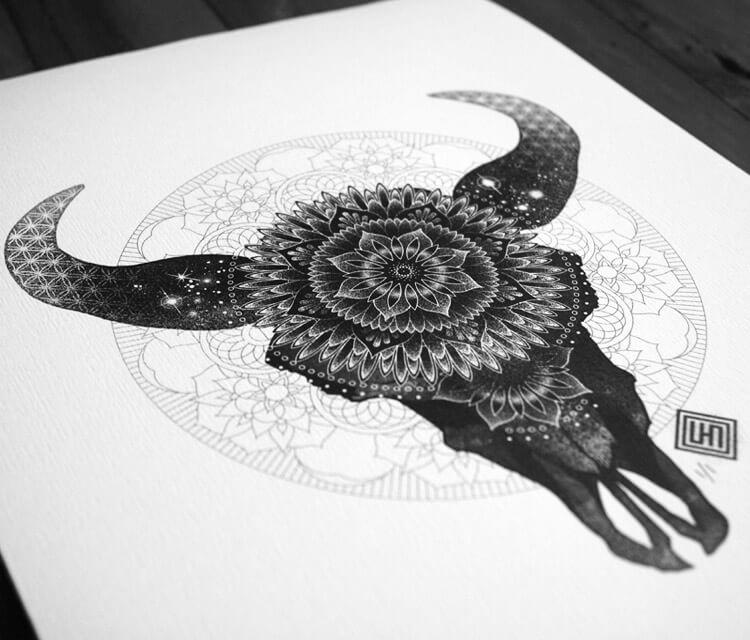 Mandala Bull Skull drawing by Sneaky Studios