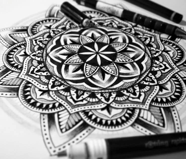 Mandala Flower drawing by Sneaky Studios