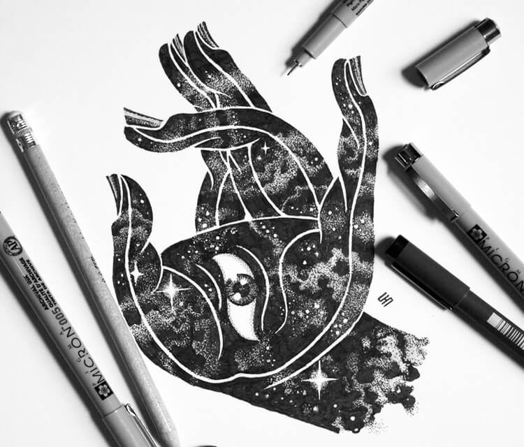 Sacred hand marker drawing by Sneaky Studios