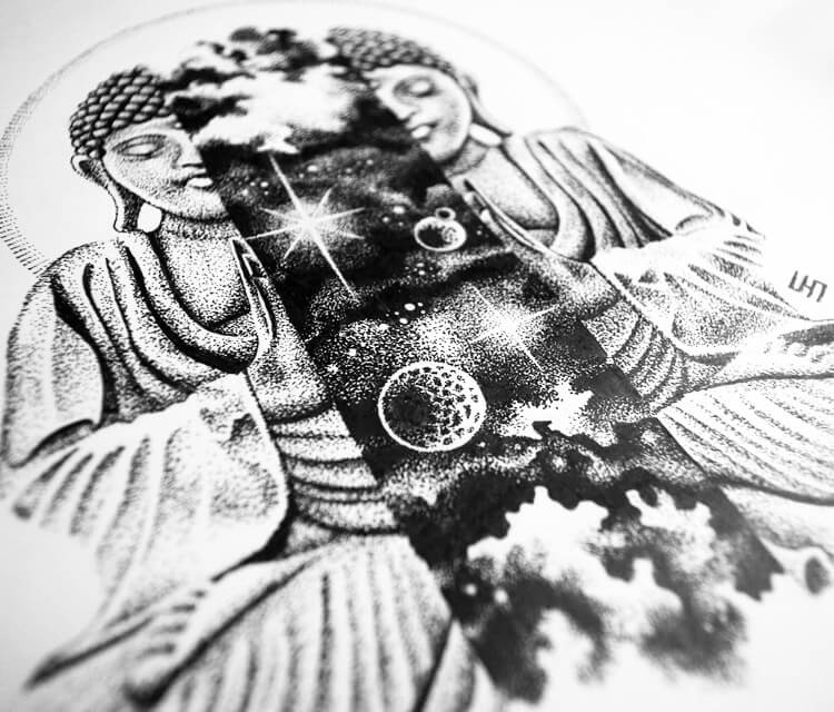 Space Budha marker drawing by Sneaky Studios