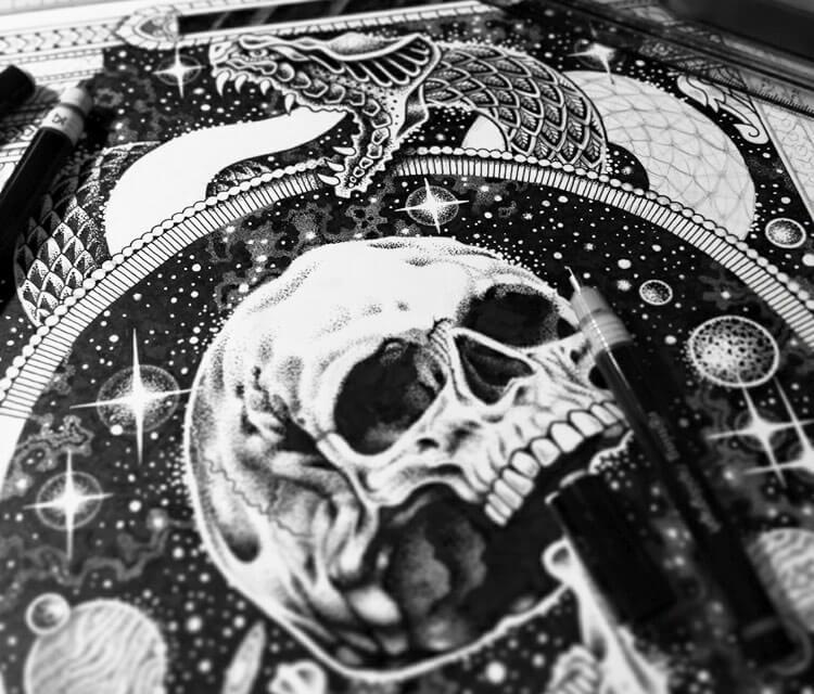Space skull drawing by Sneaky Studios