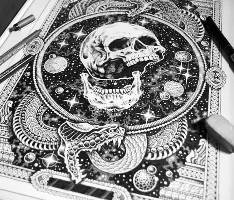 Space skull 2 pen drawing by Sneaky Studios