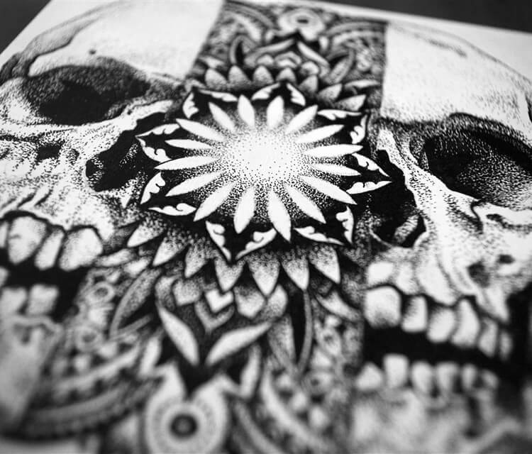 Stipple skull detail pen drawing by Sneaky Studios