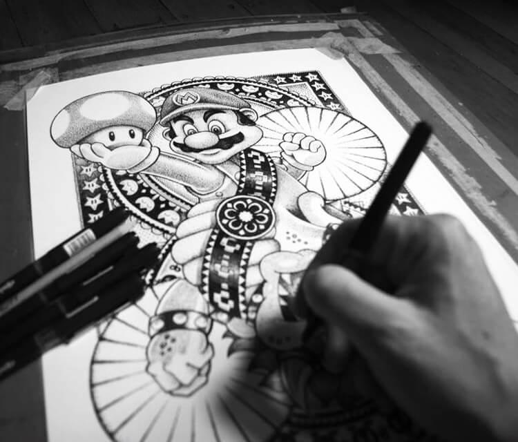 Super Mario Bros drawing by Sneaky Studios