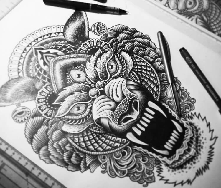 Wolfy.jpg pen drawing by Sneaky Studios