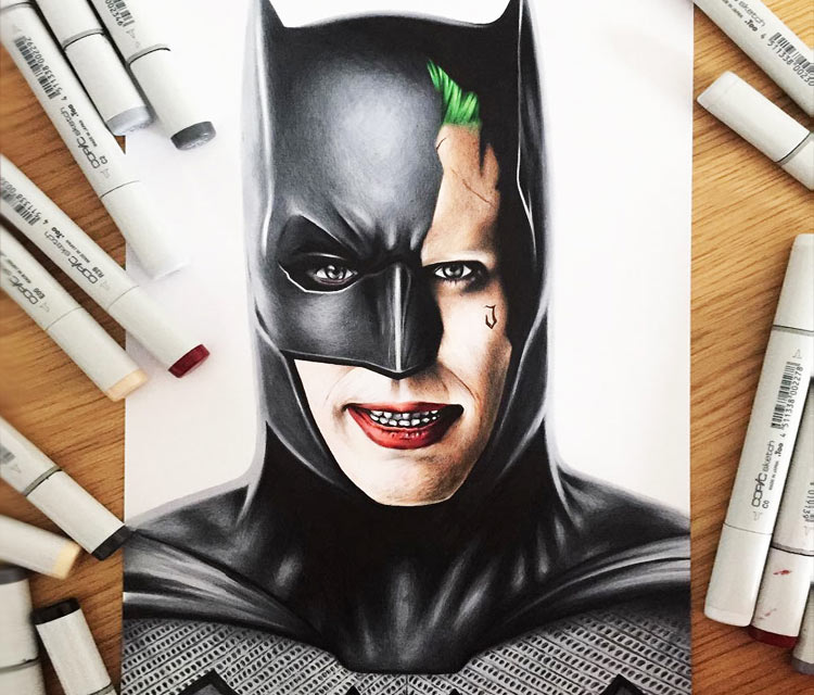 Batman and Joker pencil drawing by Stephen Ward