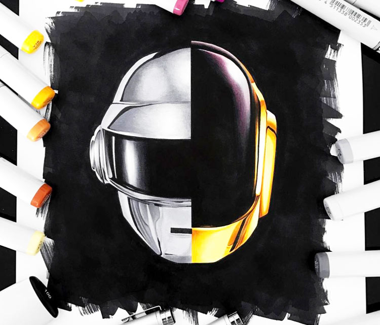 Daft Punk drawing by Stephen Ward