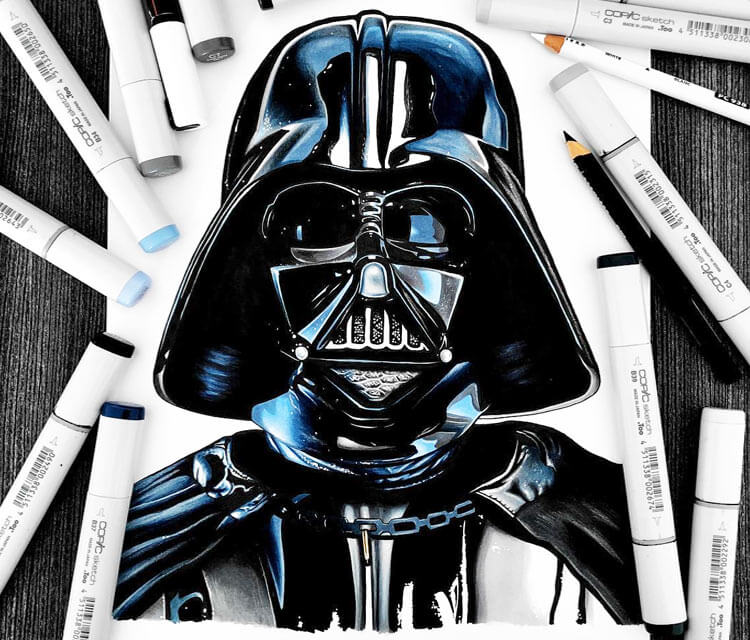 Darth Vader pencil drawing by Stephen Ward