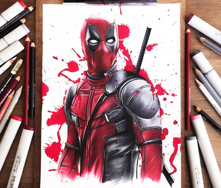 Deadpool drawing by Stephen Ward