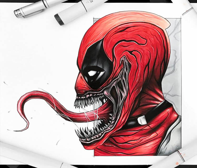 Deadpool Carnage drawing by Stephen Ward