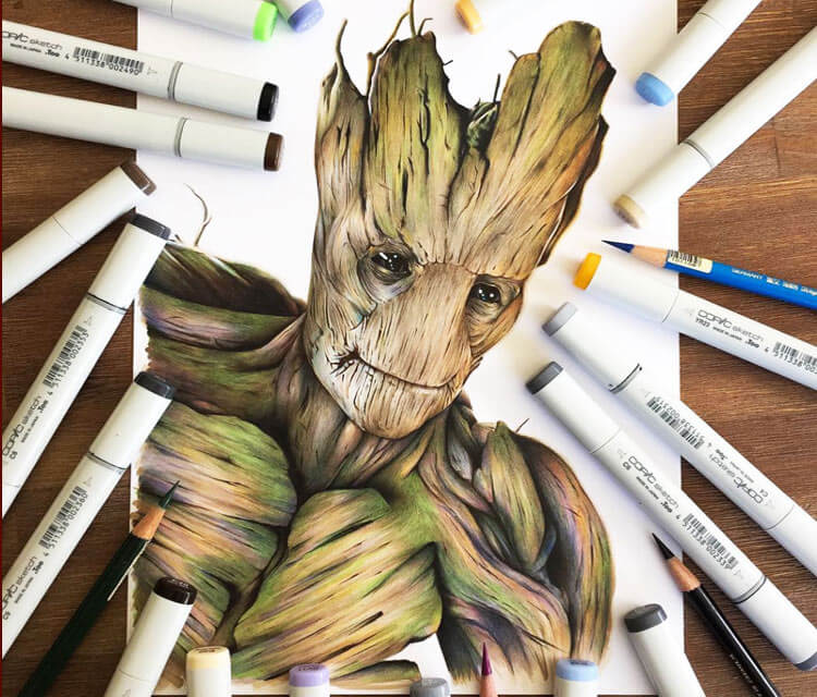 Groot drawing by Stephen Ward