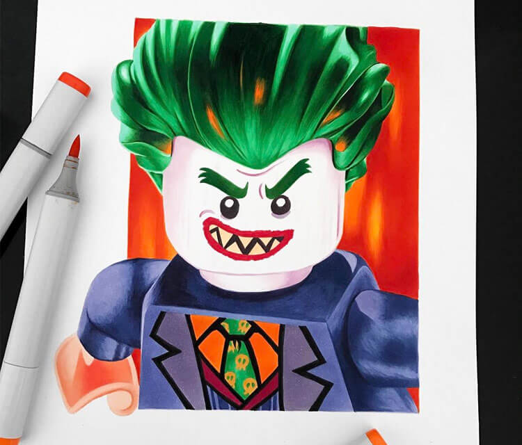 Lego Joker drawing by Stephen Ward