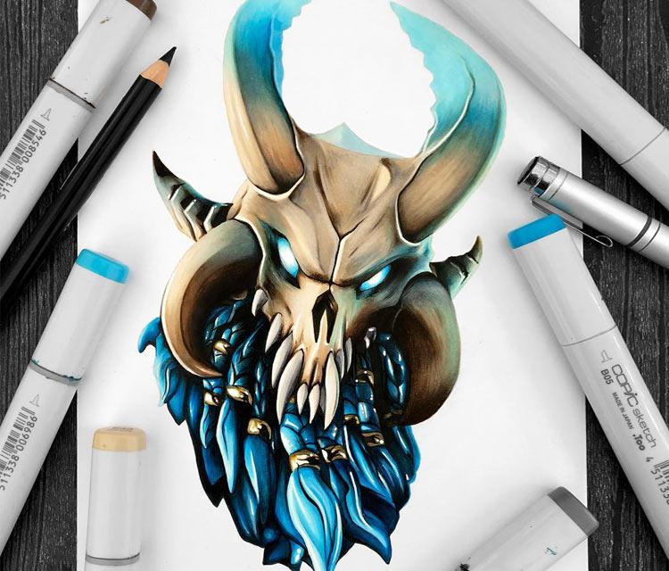Ragnarok drawing by Stephen Ward