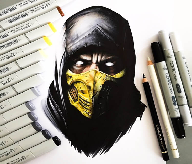 Scorpion drawing by Stephen Ward