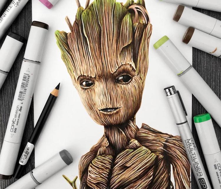 Teenage Groot pencil drawing by Stephen Ward