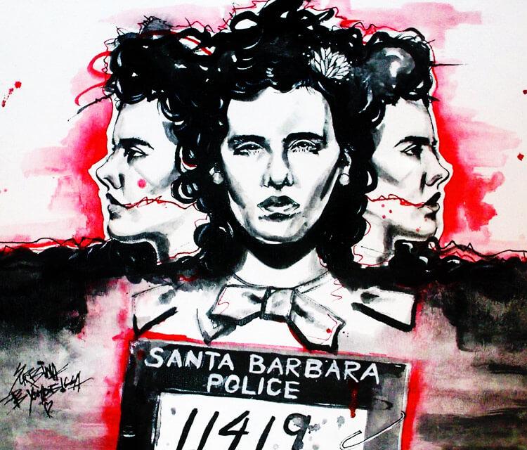 Black Dahlia painting by Surbina Psychobilla