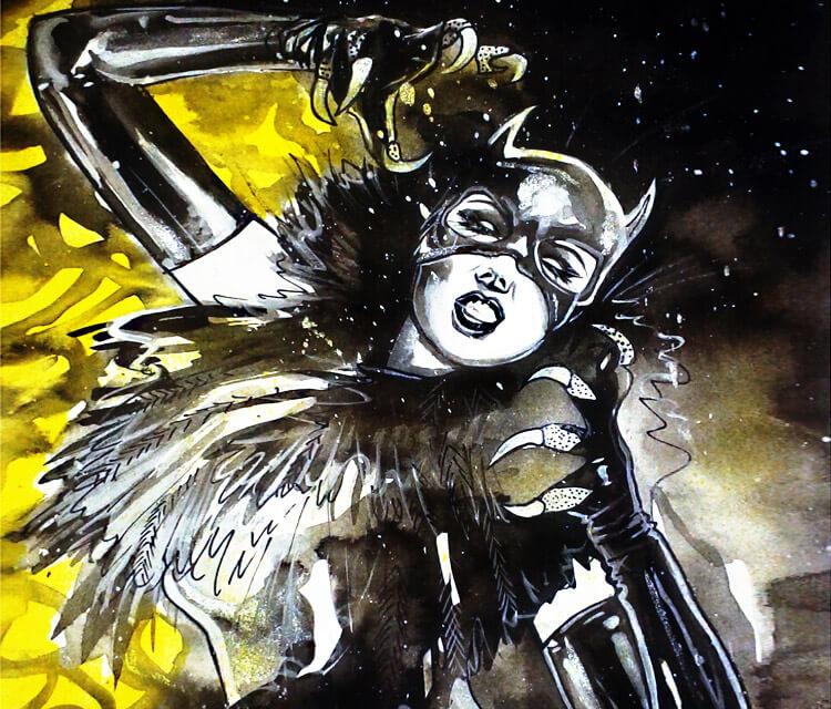 Catwoman painting by Surbina Psychobilla