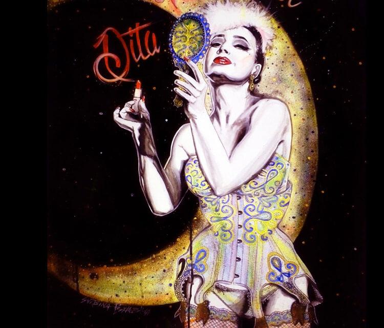 Dita Von Teese mixedmedia by Surbina Psychobilla
