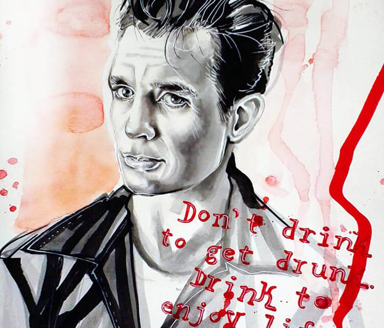 Jack Kerouac painting by Surbina Psychobilla