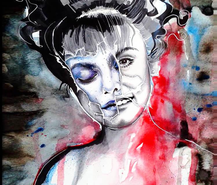 Laura Palmer mixedmedia by Surbina Psychobilla
