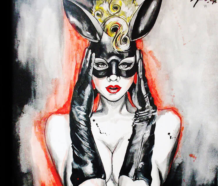 Miss Mosh in Rabit Mask painting by Surbina Psychobilla