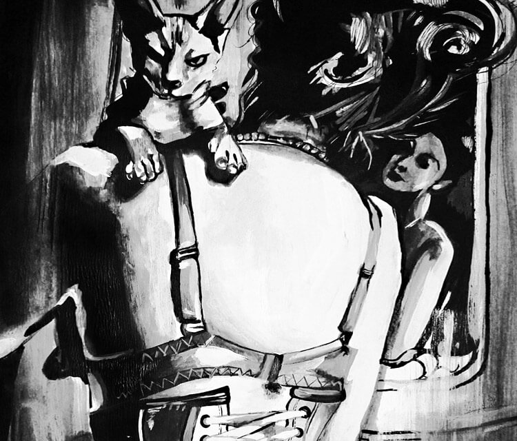 Sphynx painting by Surbina Psychobilla