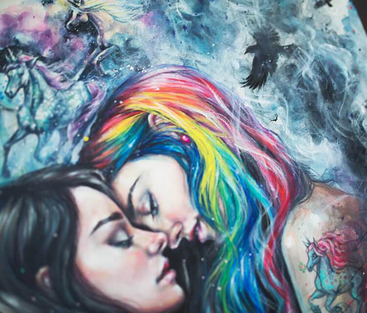 Colorful me detail acryl painting by Tanya Shatseva