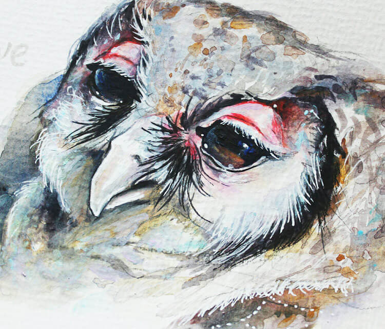 Cosmic owl painting by Tanya Shatseva