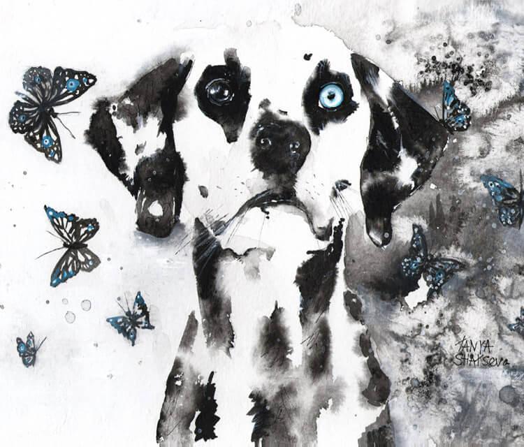 Dalmatian detail painting by Tanya Shatseva