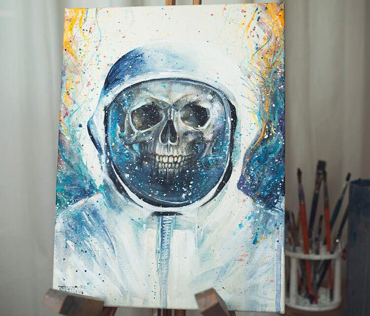 Gabriel skull acryl painting by Tanya Shatseva