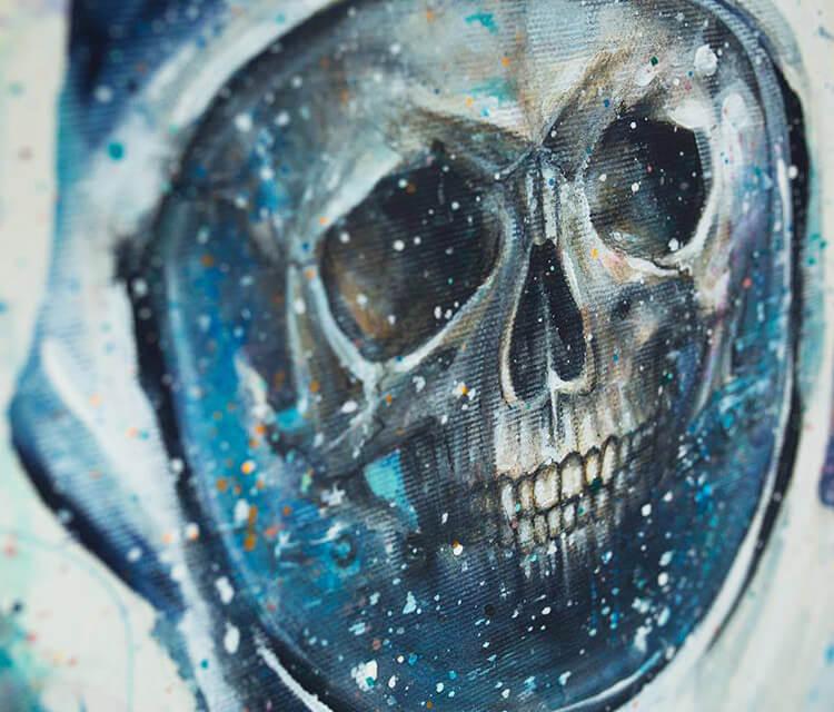 Gabriel skull detail acryl painting by Tanya Shatseva