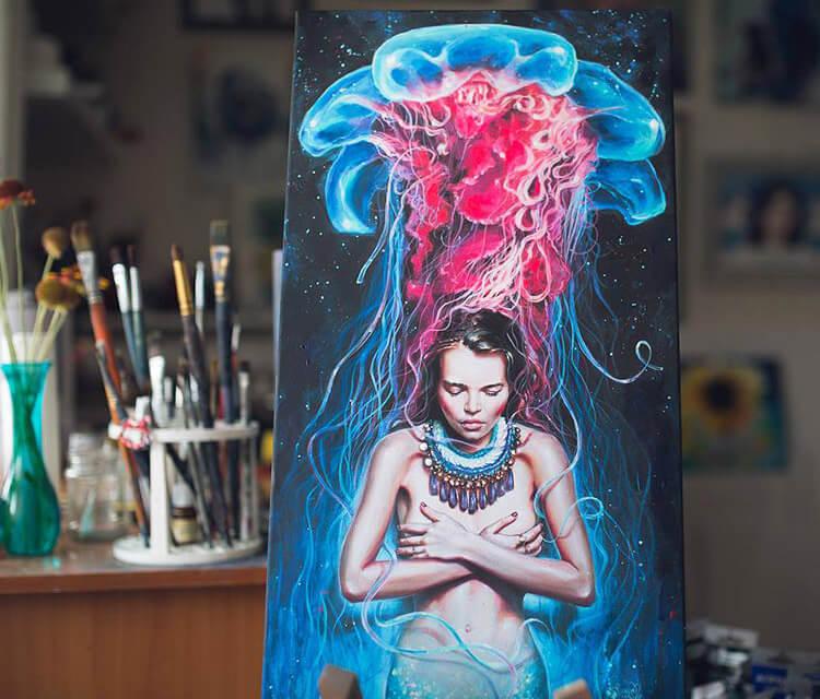 Metamorphosis acryl painting by Tanya Shatseva