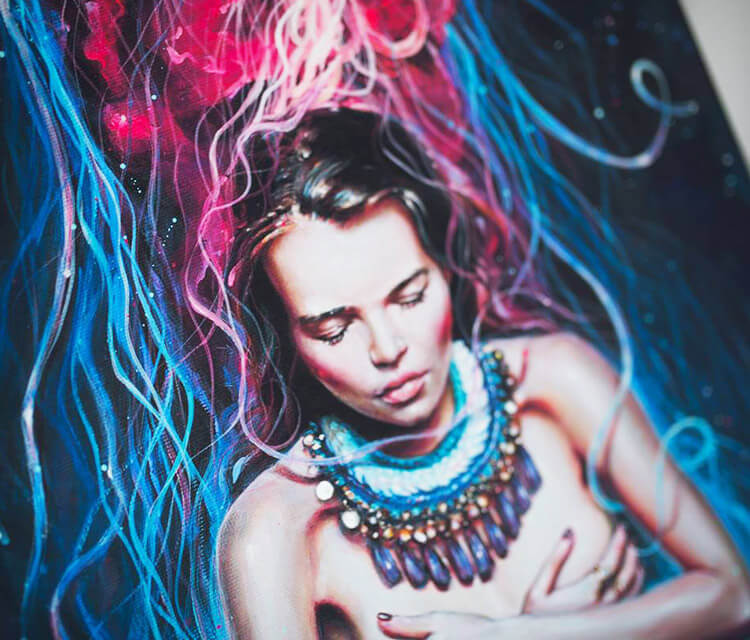 Metamorphosis detail acryl painting by Tanya Shatseva
