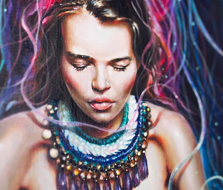 Metamorphosis detail 2 acryl painting by Tanya Shatseva