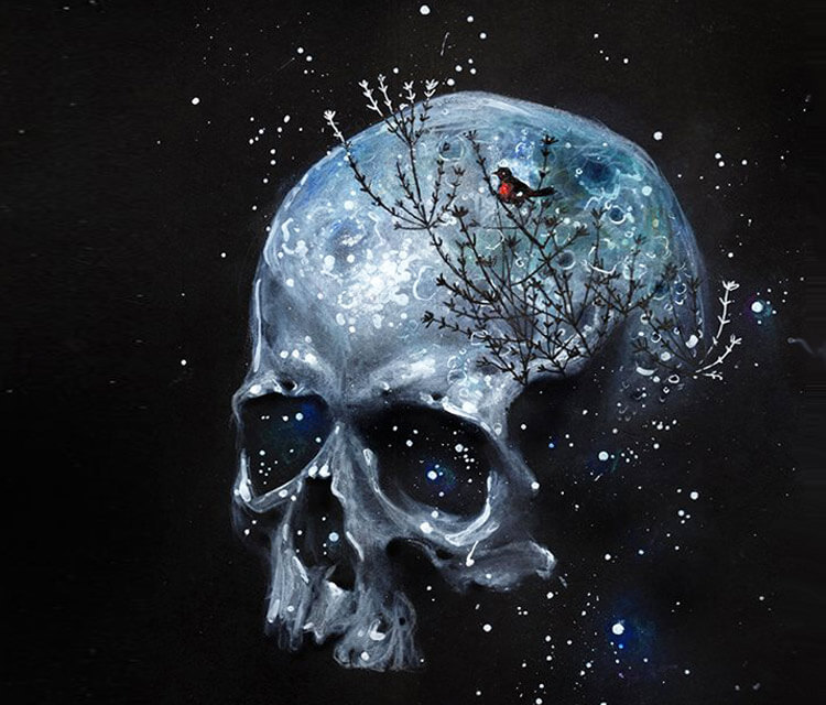 Moonskull painting by Tanya Shatseva