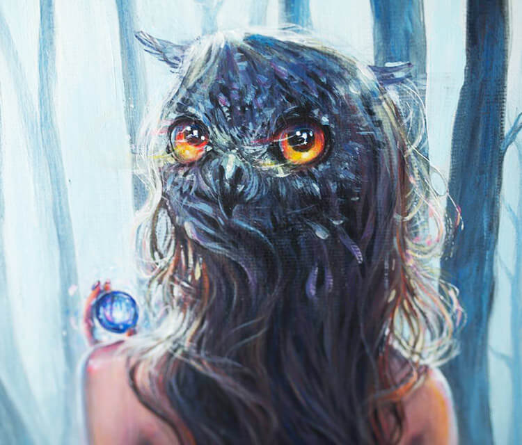 Owl lady painting by Tanya Shatseva